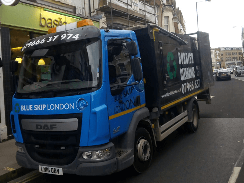 A lorry in London - rubbish removal in progress