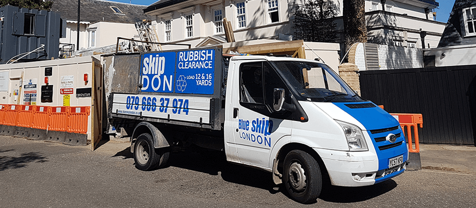 Blue Skip London van at work